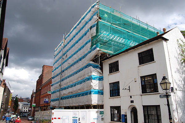 Existing building scaffolding